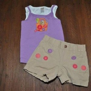 Gymboree Pretty Posies Dog Tank & Shorts Outfit